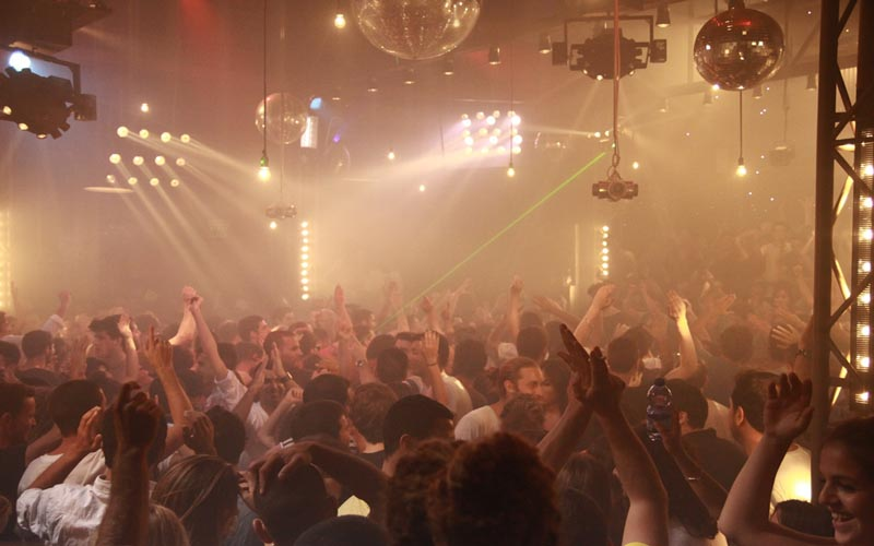 On this picture you see the dancing crowd in nightclub Sala Tango Barcelona.